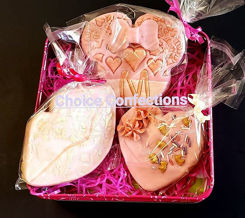 VDay Only! Cookie Trio - Fondant Minnie + Lips + Heart