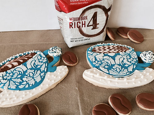 Coffee Cups - Detailed Sugar Cookies