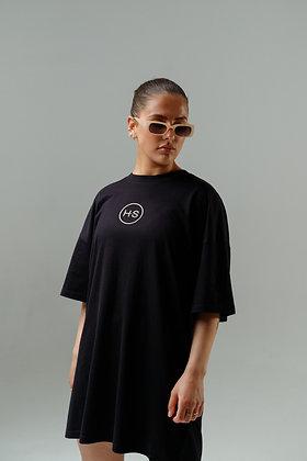 H.S Black Organic Cotton Logo T-Shirt Dress