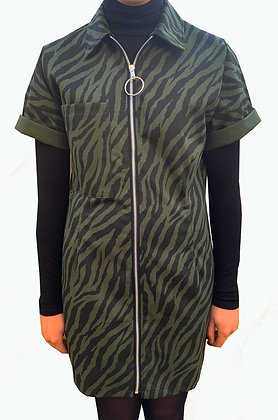 H.S Forest Green Tiger Shirt Dress