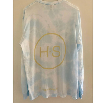 Bleach dye H.S Pale Blue Logo T-Shirt