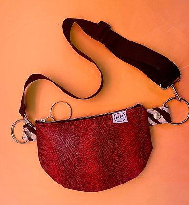 H.S Red Vegan Snakeskin Shoulder Bag