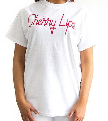 H.S White Cherry Lips T-Shirt