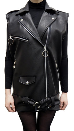 H.S Black Faux Leather Biker Gilet