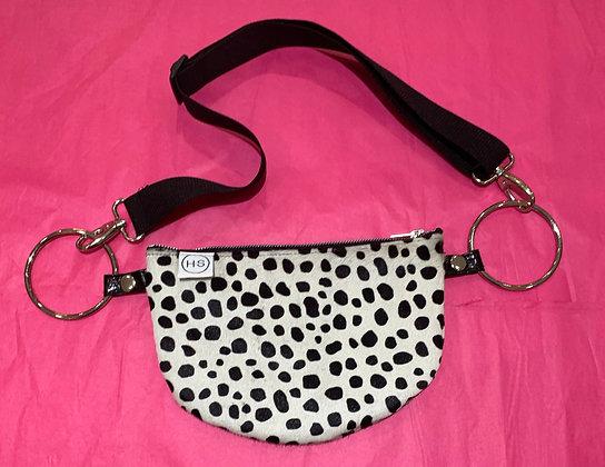 H.S Snow Leopard Leather Shoulder Bag