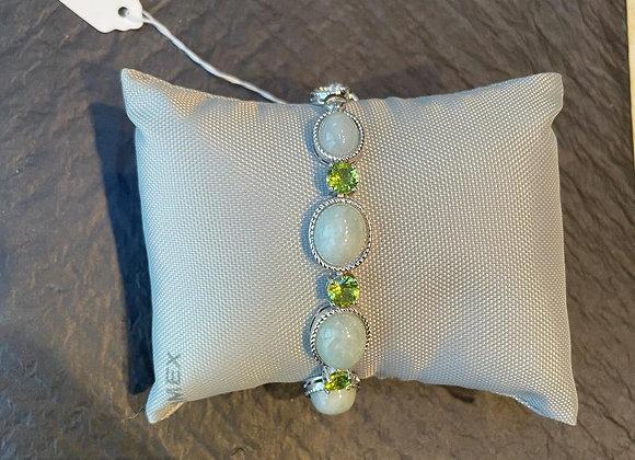 Peridot and Feldspar Stone Bracelet