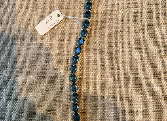 Blue Crystal and Sterling Silver Bracelet