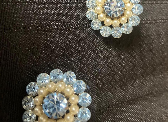 Two Vintage Costume Pins with Blue Glass and Glass Pearls