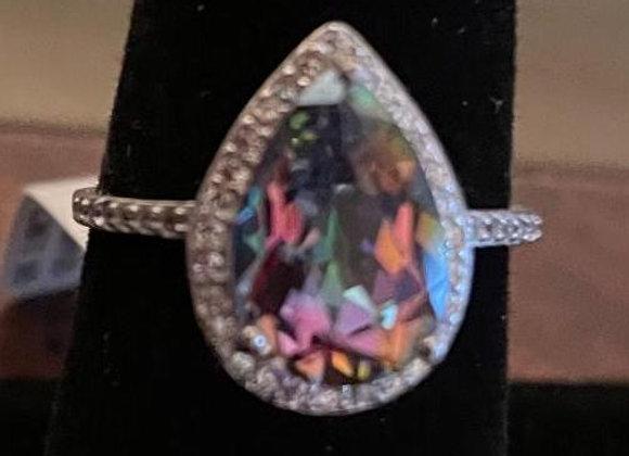 Multi-color Quartz Stone Round White CZ Ring Size 7