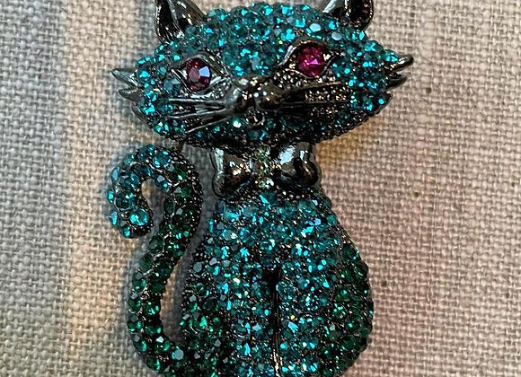 "Swarovski ""Elements"" Crystal Cat Brooch"