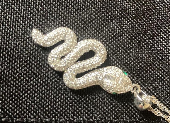 Crystal Snake with Green Eyes