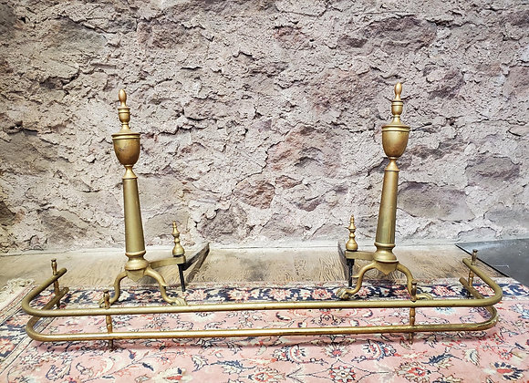Old Brass Andirons with Fireplace Fence