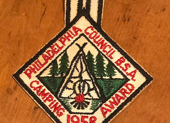 Vintage Boy Scout Patch Camping Award 1958