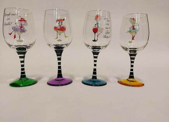 Set of Four Whimsical Wine Glasses