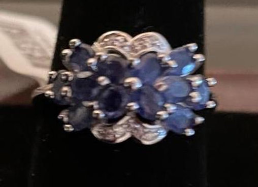 Sterling Silver Cocktail Ring with Blue Sapphires & White Zircon (Size 11)