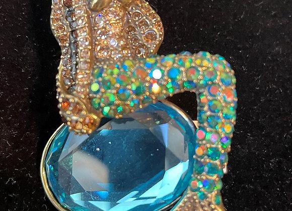 Multicolored Crystal Mermaid Pin