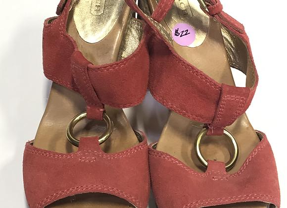 Coach Coral & Tan Sandal Size 8 1/2