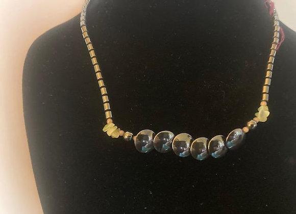 Hematite Beads with Peridot Chips Choker