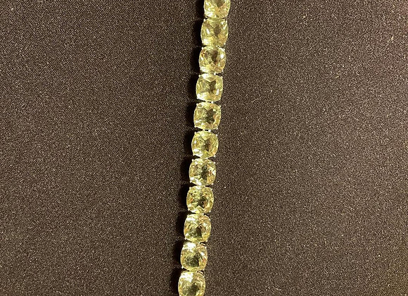 Tennis Bracelet with Square Cushion Prasiolite Stones on Sterling Silver