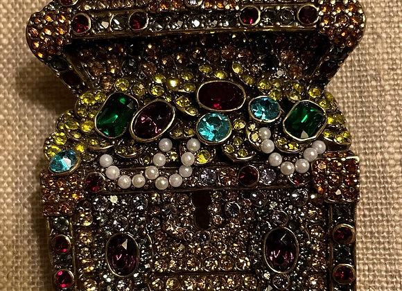 Multicolor Crystal Antique Bronze Tone Treasure Chest Brooch