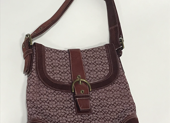Coach Burgundy Logo Fabric Handbag