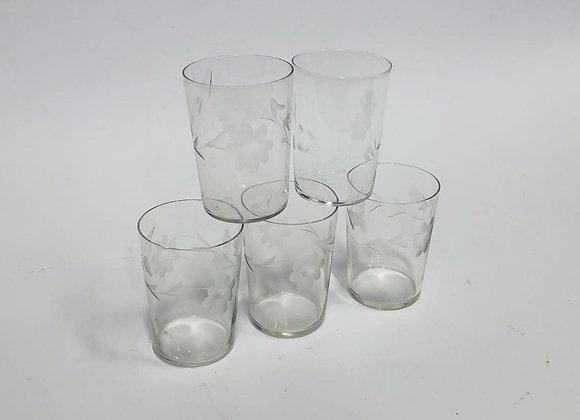 Set of Five Delicate Floral Etched Juice Glasses