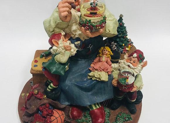 Large Santa in His Workshop Music Box