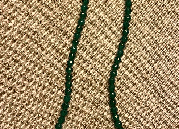 Round Green Onyx with Sterling Silver Bead Necklace