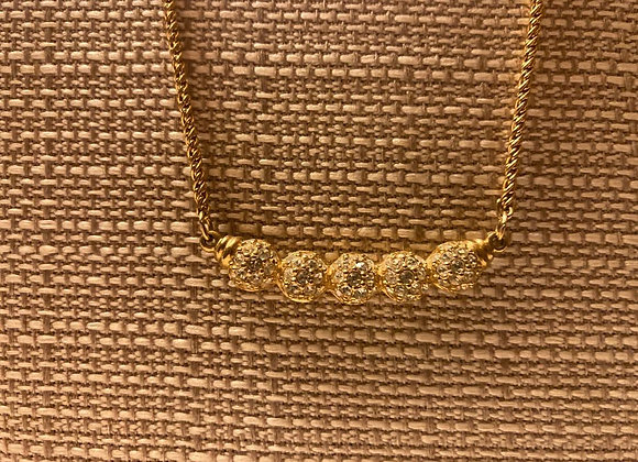 Choker with 5 Gold-toned Beads with Swarovski Crystals