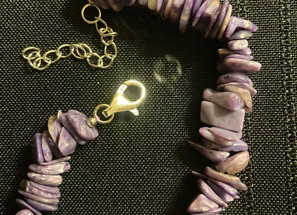 Charoite Chip Bracelet with Lobster Claw Clasp