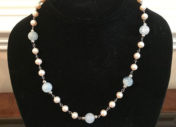 Cultured Pearl and Bluish Moonstone Beaded Silver Necklace