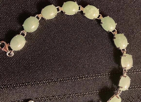 Oval Green Jadeite Sterling Silver Bracelet