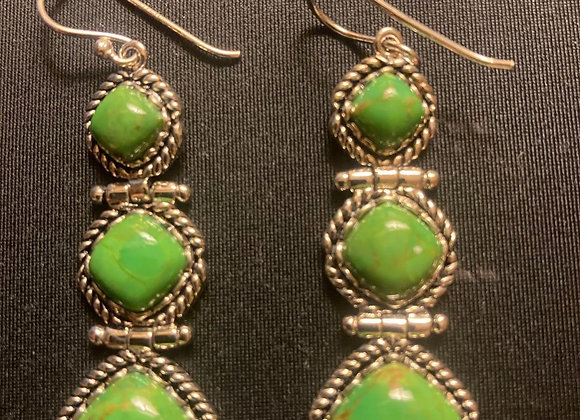 Sterling Silver Surrounds Green Turquoise Drop Earrings