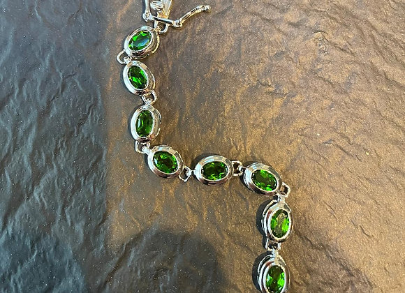 Green Crystal and Sterling Silver Bracelet