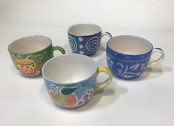 Set of Four Hand-Painted Cooks Club Coffee Cups