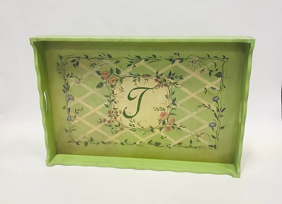 Large Wooden Painted Tray