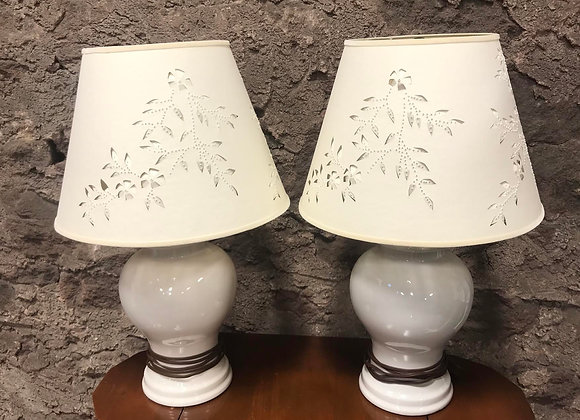 Pair of Lamps with Cut & Pierced Shades