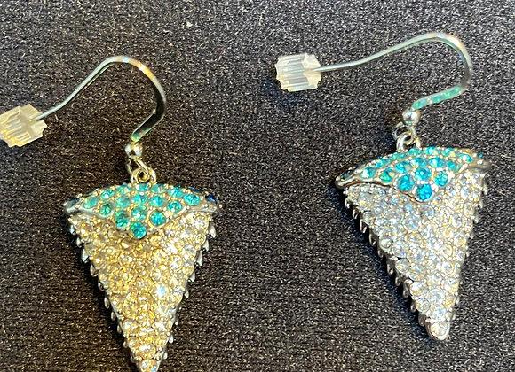 Aqua and White Crystals Earrings