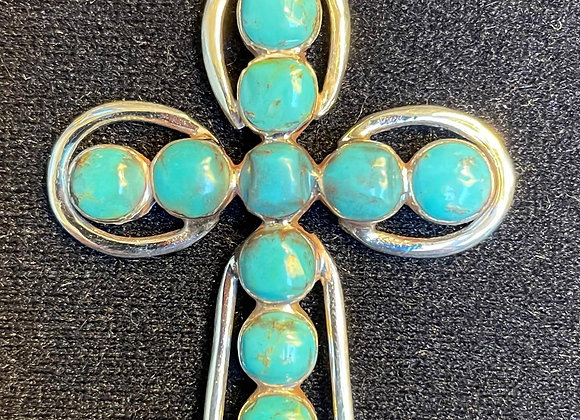 Turquoise Sterling Silver Cross Pendant