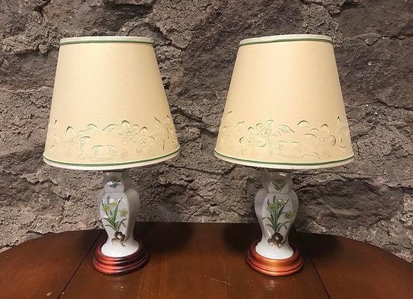 Pair of Floral Lamps with Pierced Shades