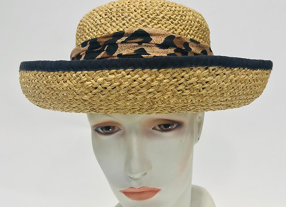 Straw Hat with Leopard Band