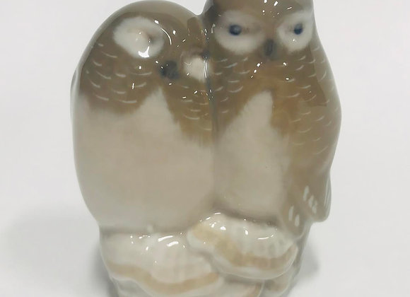 Royal Copenhagen Pair Of Owls Figurine #834