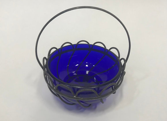Wire Basket with a Cobalt Blue Glass Bowl Insert