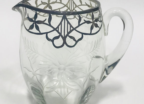 Gorgeous Etched Glass Pitcher with Lattice