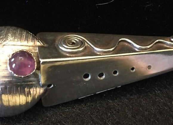 Unique Silver Pin with Amethyst Stone.