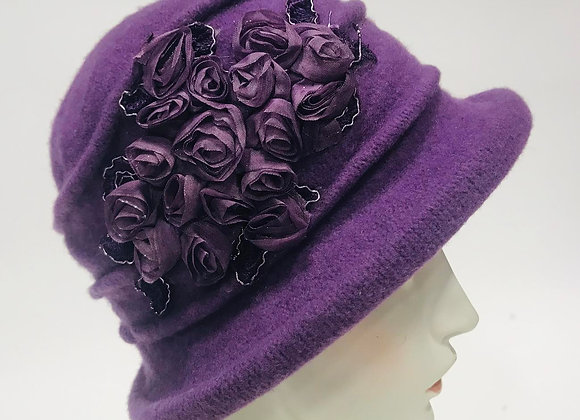 Purple Wool Hat with Roses