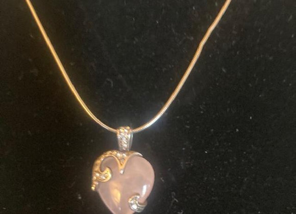 Heart-shaped Rose Quartz Stone with 925 Silver Chain