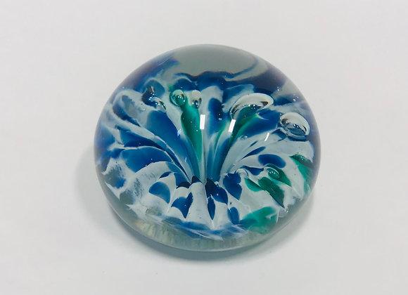 Hand Blown Blue Flower Paperweight