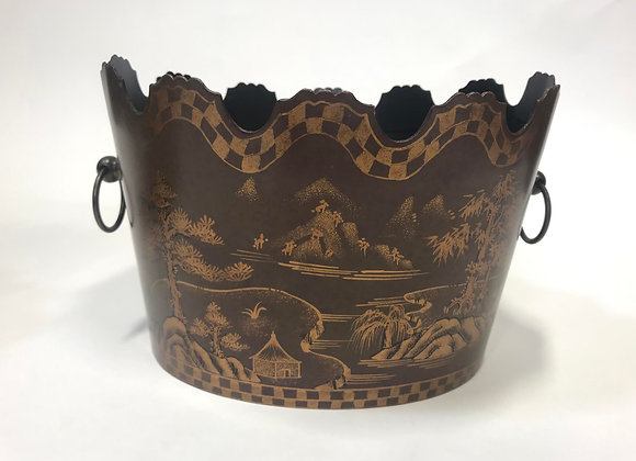 Pair of Metal Scalloped Buckets