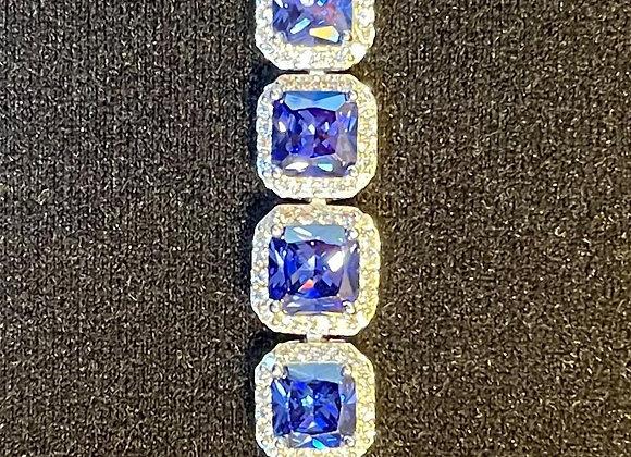 Bracelet: Tanzanite and White Diamond Simulants